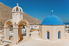 Église d'Emporio chez Santorini, Grèce Photos libres de droits
