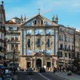 ?glise de DOS Congregados de Santo Antonio en Almeida Garrett Square Architecture baroque d?cor?e du typique photographie stock libre de droits