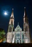 Église de pleine lune de Budapest Photographie stock