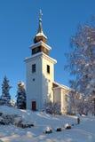 Église de Vilhelmina en hiver, Suède Photographie stock libre de droits