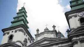 ?glise dominicaine, cath?drale de conception impeccable de m?re sainte de Dieu dans Ternopil, Ukraine 19-07-2018 banque de vidéos