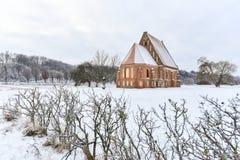 Église gothique Lithuanie de Zapyskis Photos stock