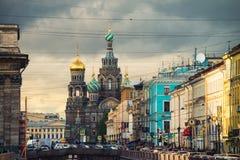 Église sur le sang renversé dans le St Petersbourg Photos stock