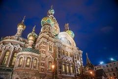 Église sur le sang renversé dans le St Petersbourg Photographie stock libre de droits