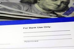 Glissement de virement bancaire de revenus d'entreprise Photo stock