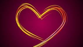 Glisseurs qui dessinent un coeur de diverses couleurs au centre de l'écran sur un fond rose banque de vidéos