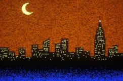 Glissière d'effets spéciaux de l'horizon de New York City, NY Photos stock