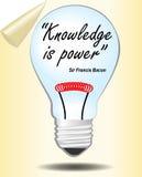 Glissière de motivation avec l'ampoule La connaissance est pouvoir Citation de Lord Bacon Images libres de droits