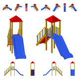Glissière du ` s d'enfants avec une échelle à différents angles D'isolement sur le fond blanc Photo libre de droits