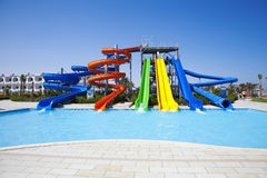 Glissières d'Aquapark Images stock