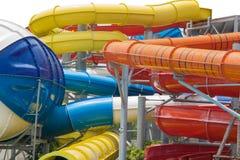 Glissières d'eau au parc aquatique Photographie stock