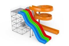 Glissières d'eau colorées d'Aquapark rendu 3d Photos libres de droits