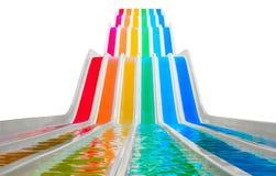 Glissières d'eau colorées sur le blanc Photos stock