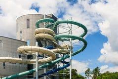 Glissières d'eau de l'Aquapark dans Druskininkai, Lithuanie Photographie stock