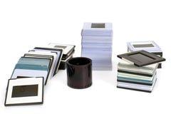 Glissières diapositive de vintage avec les cadres en plastique Photo stock
