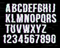 Glitch font on distorted effect .  Latin letters from A to Z and numbers from 0 to 9. Green and red channels. Glitch font on distorted effect . Trendy style vector illustration