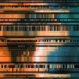 Glitch Abstract Background. With distortion effect, bug, error, random horizontal orange and blue color lines for design concepts, posters, wallpapers Royalty Free Stock Images