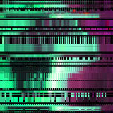 Glitch Abstract Background. With distortion effect, bug, error, random horizontal purple and green color lines for design concepts, posters, wallpapers Stock Photography