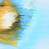 Glitch Abstract Background. With distortion effect, random horizontal yellow and blue color lines for design concepts, posters, wallpapers, presentations and Stock Photography