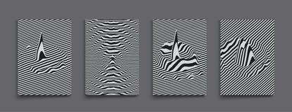 Glitch Abstracte Achtergrond Vervormingseffect, insect en fout Zwart-wit ontwerp Patroon met optische illusie 3d vector royalty-vrije illustratie