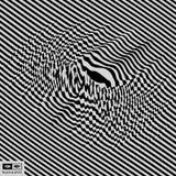 Glitch Abstracte Achtergrond Vervormingseffect, insect en fout Zwart-wit ontwerp Patroon met optische illusie 3d vector stock illustratie