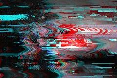Glitch achtergrond De fout van het computerscherm Het digitale abstracte ontwerp van het pixellawaai Fotoglitch Het televisiesign stock afbeeldingen