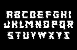 Glitch alphabet. Black and White Font with distortion effect. Isolated vector illustration. Glitch alphabet. Distortion font. Isolated vector illustration Stock Image