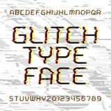 Glitch alphabet font. Broken letters and numbers. Royalty Free Stock Photos
