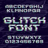 Glitch alphabet font. Distorted type letters and numbers on a glitched background. Royalty Free Stock Image