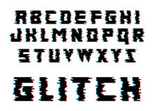 Glitch alphabet letters. Font with distortion effect. Isolated vector illustration. Glitch alphabet. Distortion font. Isolated vector illustration Stock Image