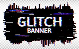 Glitch banner. Distorted glitch Font. Trendy design template with colorful geometric shapes and pixels. Abstract pixel Royalty Free Stock Photography