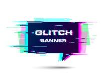 Glitch banner met copyspace Bevorderingsbanner, prijskaartje, toespraakbel, sticker, kenteken, affiche royalty-vrije illustratie
