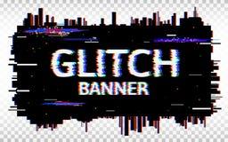 Glitch banner Vervormde glitch Doopvont In ontwerpmalplaatje met kleurrijke geometrische vormen en pixel Abstract pixel royalty-vrije illustratie