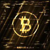Glitch bitcoin golden sign shining light. Glitch bitcoin light gold surface background template. Abstract crypto glitched golden vector design backdrop Royalty Free Stock Images