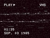 Glitch cameraeffect Retro VHS-achtergrond Oud videomalplaatje Geen Signaal De band windt opnieuw op Vector illustratie Stock Fotografie