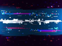 Glitch color effect background. Digital noise. Multicolor shapes and lines. Computer screen error. Vector illustration Stock Photos