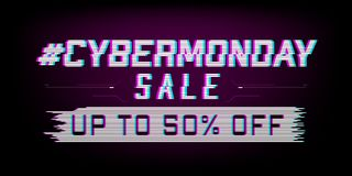 Glitch Cyber Monday sale web banner vector illustration