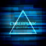 Glitch cyberpunk frame with technology error and neon shape. Glitch frame with technology error and neon triangle Stock Image
