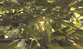 Glitch 3d render, golden modern shattered field texture, random triangles digital illustration, abstract geometric. Background. Wealth and Prosperity reach stock illustration