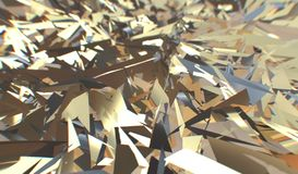 Glitch 3d render, golden modern shattered field texture, random triangles digital illustration, abstract geometric. Background. Wealth and Prosperity reach vector illustration
