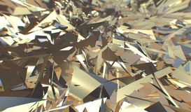 Glitch 3d render, golden modern shattered field texture, random triangles digital illustration, abstract geometric. Background. Wealth and Prosperity reach royalty free illustration