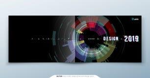 In glitch dekkingsontwerp met geometrisch patroon Moderne vectorillustratie Stock Foto