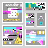Glitch Design Poster Templates Set. Cyberpunk Digital Background with Geometric Gradient Elements. Abstract Composition. For Fabric Fashion 80s-90s, Flyers Royalty Free Stock Images