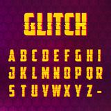 Glitch distorted effect font set. Glitch distorted effect latin alphabet for hi-tech style digital design banners, advertising and other things Royalty Free Stock Photography
