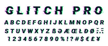 Glitch distorted font letter set with broken pixel effect. Vector retro video game alphabet. Old distorted TV matrix effect Stock Images
