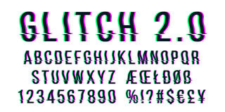 Glitch distorted font letter set with broken pixel effect Royalty Free Stock Image