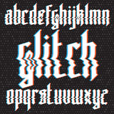 Glitch distortion gothic font Stock Image