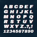 Glitch doopvont met vervormingseffect Schend Alfabet Concept voor Uw Embleem Stock Foto