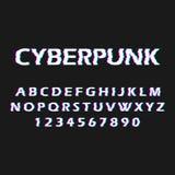 Glitch doopvont Vervormd, defectdoopvont Stijl cyberpunk Letters en getallen vector illustratie
