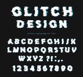 Glitch doopvontontwerp op de zwarte achtergrond abc letters en getallen Royalty-vrije Stock Afbeelding